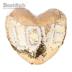 Kudde med vändbara paljetter - Guld heart shape
