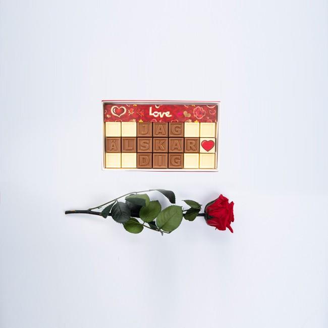 Mini ros med personligt choklad meddelande - 21