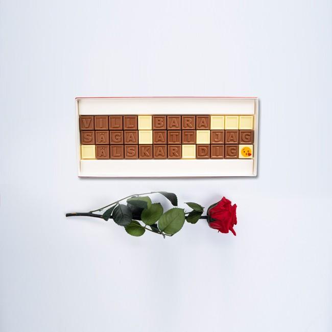 Mini ros med personligt choklad meddelande