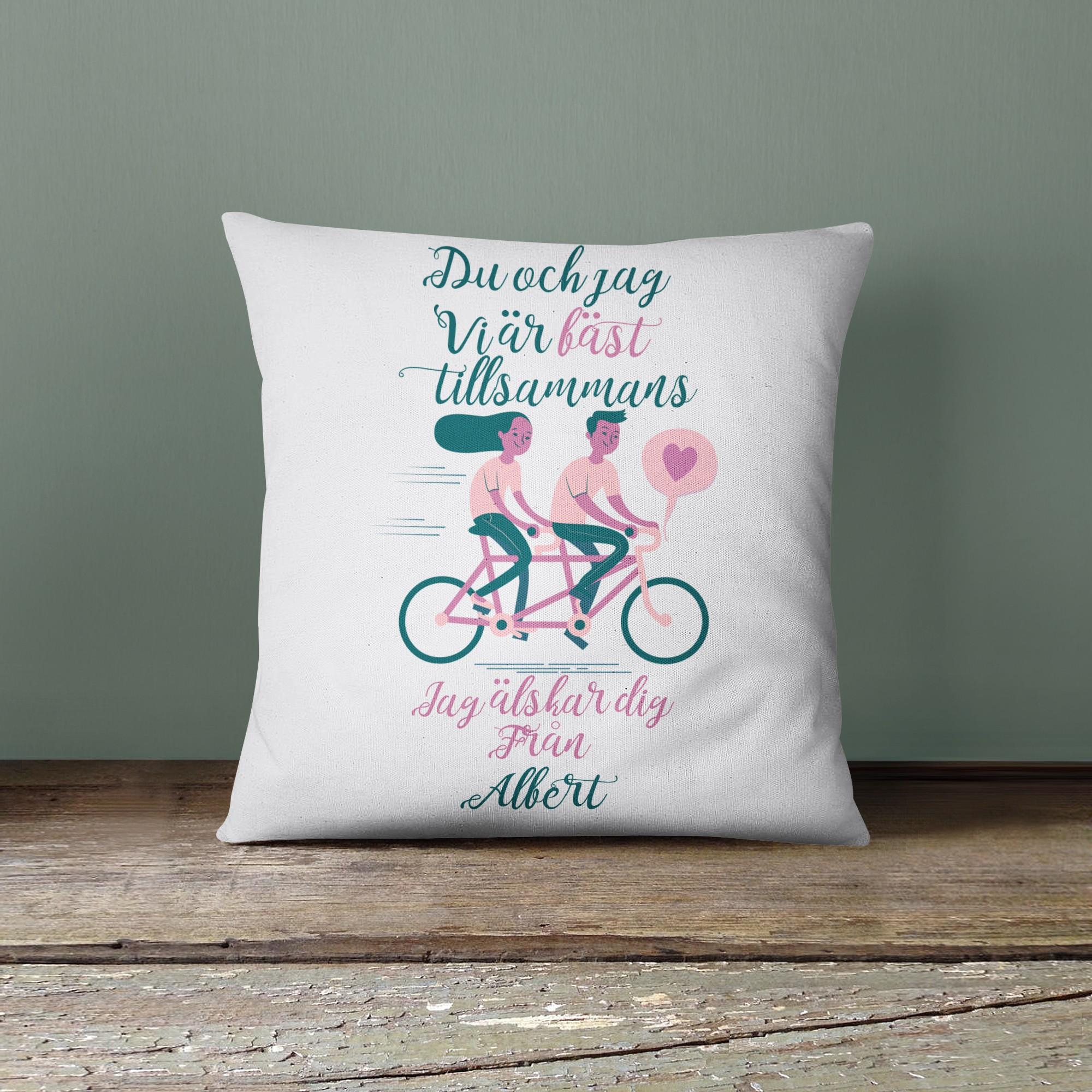 Personlig kudde - Vi är bäst tillsammans tandem-cykel