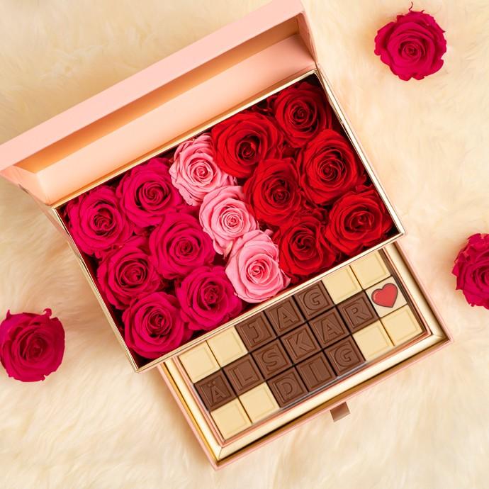 Lyxig rosbox (Röd | Baby Rosa | Rosa) - Evighetsrosor