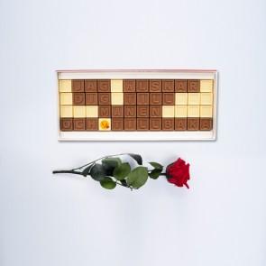 Mini ros med personligt choklad meddelande - 48 Chokladbitar