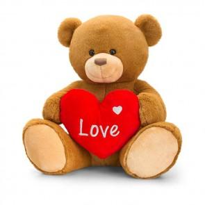 """Henry nalle som håller i ett hjärta med texten """"Love"""" - BRUN - 30CM"""