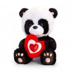 Pandabjörn hållandes rött hjärta